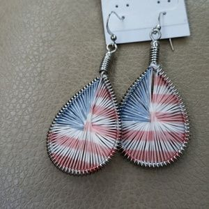 Jewelry - Red white blue wire earrings